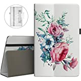 VORI Folio Case for All-New Amazon Fire HD 8 Tablet (5th/6th/7th/8th Generation, 2015/2016/2017/2018 Release) - Slim Fit Premium PU Leather Standing Protective Cover with Auto Wake/Sleep-Peony