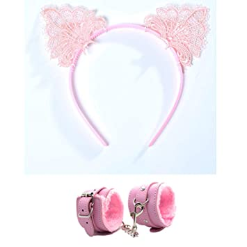ad783179c9 Amazon.com  Christmas Cosplay Costume Lace Cat Ears Headbands and Handcuffs  for Women (Pink)  Beauty