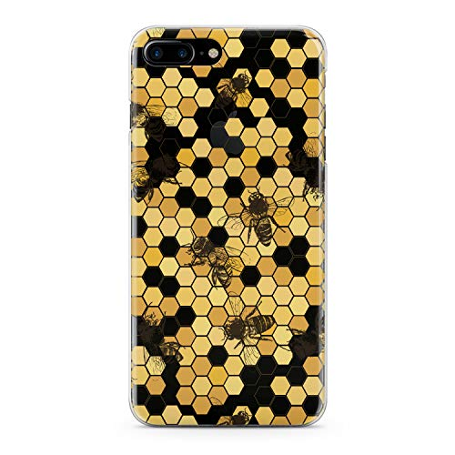 Honey Yellow Case - Lex Altern TPU Case for iPhone Apple Xs Max Xr 10 X 8+ 7 6s 6 SE 5s 5 Realistic Bees Clear Cover Honeycombs Slim fit Lightweight Yellow Print Soft Design Colorful Gift Flexible Woman Smooth Elegant