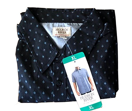 Diamond Pattern Shirt (Hudson River Men's Short Sleeve Lightweight Button Down Shirt (Black Diamond, Large))