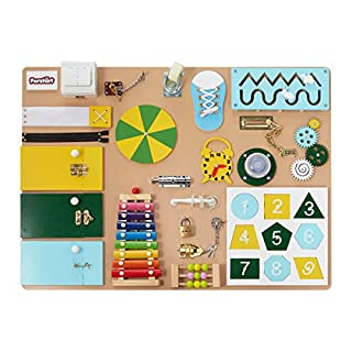 FORSTART Busy Board, Wooden Sensory Board, Latches Board, Activity Board, Busy Cube, Educational Brain Developmental Toys for Kids, Toddlers