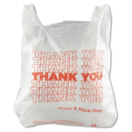 Inteplast Group THW1VAL''Thank You'' Handled T-Shirt Bags, 11 1/2 x 21, Polyethylene, White (Case of 900) by Inteplast (Image #1)