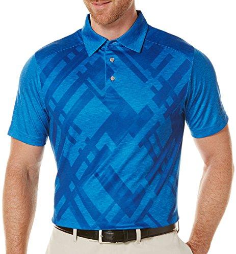 PGA TOUR Men's Golf Performance Short Sleeve Blocked Heathered Argyle Polo Shirt, Daphne Medium