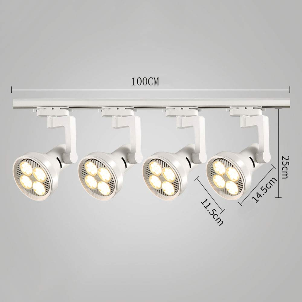 Mei Xu Track Light - Living Room Wall Track Lights Decorative Spotlights - Black/White - 20W/30W/40W - 4 Heads Track Lamp (Color : White, Size : 30W)