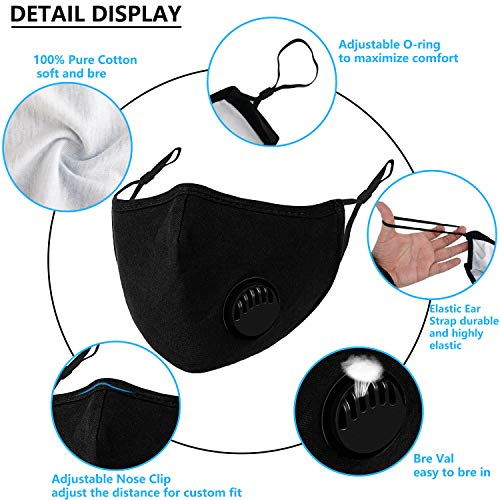 3Pcs Dust ???????????????? Cotton ???????????????? with Va and 20 Replaceable Fs, Washable and Reusable ???????????????? with Adjustable Ear Straps and N Wire for Men Women & Kids (Black)