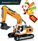 DOUBLE E 17 Channel Remote Control Tractor Truck Three in one RC Excavator Metal Shovel Remote Control Tractor Construction Vehicles with 2 Bonus Drill and Grasp