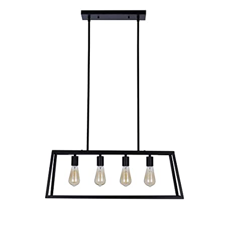 Stone Beam Industrial Open Rectangle Frame Ceiling Chandelier Pendant with 4 LED Light Bulbs – 9.5 x 9.5 x 14.38 Inch, Matte Black