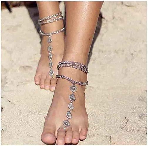 Boho Ankle Bracelet Toe Ring Anklet Slave Chain Beach Flip Flops Foot Jewellery