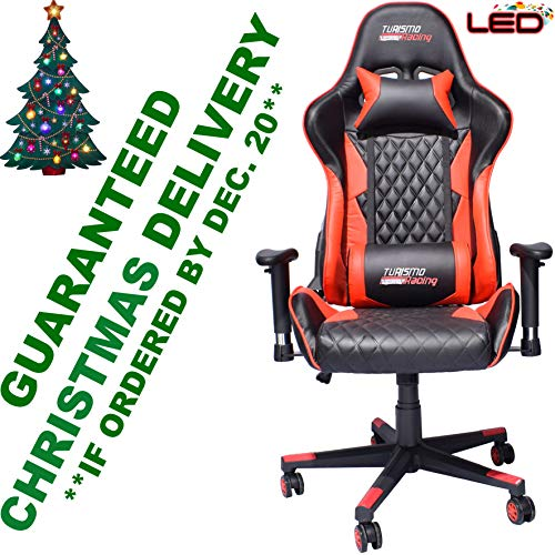 Turismo Racing Crotone Series Red LED Gaming Chair Big and Tall - Black and Red - Seat has Dual MEMORYFOAM System for Optimum Comfort in Gaming for Big Guys Uncategorized