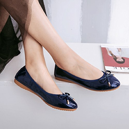 Blue Ballet Bow Womens Slip Shoes Foldable Meeshine On Dress Flats Navy HwUvqZX