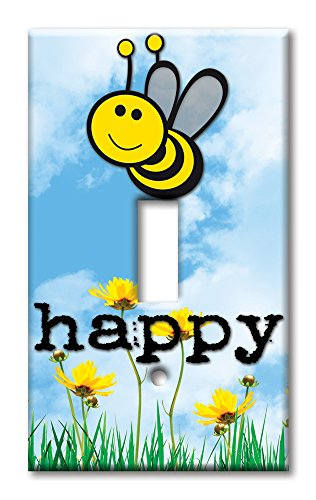 Bee Switchplate (Art Plates brand - Single Gang Toggle Switch / Wall Plate - Bee Happy)