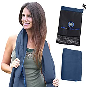 Microfiber Travel Towel - Best for Beach, Sports, Camping, Yoga, Fitness, Gym - Antibacterial, Quick Dry, Super Absorbent, Light and Compact - Includes FREE Bag - Get Toweled NOW!