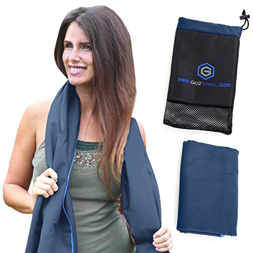 Microfiber Quick Dry Travel Towel – Best Lightweight & Sports Towel for Beach, Fitness, Gym, Yoga, Bath – Antibacterial & Extra Absorbent – Free Carry Bag for Easy Storage