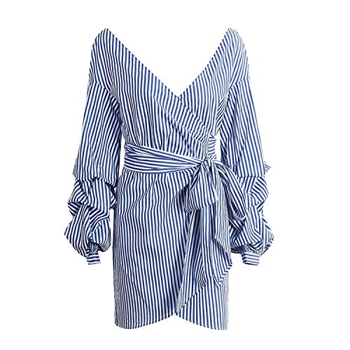 Dress Off Shoulder Lantern Sleeve Blue Stripe Bow Belt Women Dress Plaid Vestidos,Blue White Stripe,M