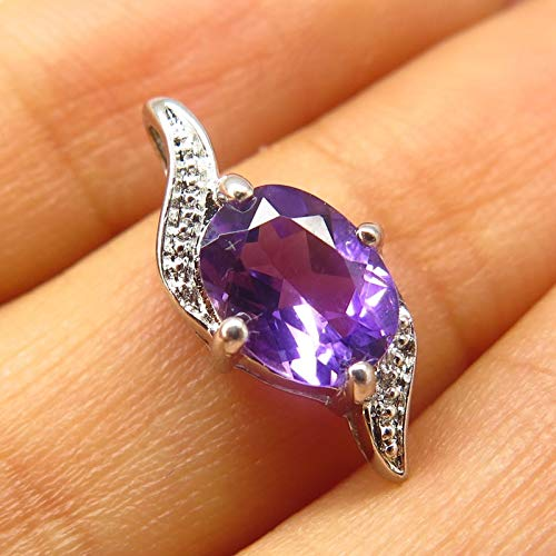 925 Sterling Silver Real Amethyst Gem Slide Pendant Jewelry Making Supply by Wholesale Charms