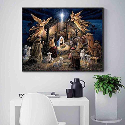 loinhgeo-30x40cm Religion Jesus Nativity Pattern Cross Stitch DIY Full Round Diamond Painting