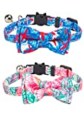 Gyapet Collar for Cats Pets Breakaway with Bell Bowtie Floral Bow Detachable Adjustable Safety Puppy 2pcs Funny-Star & Flower
