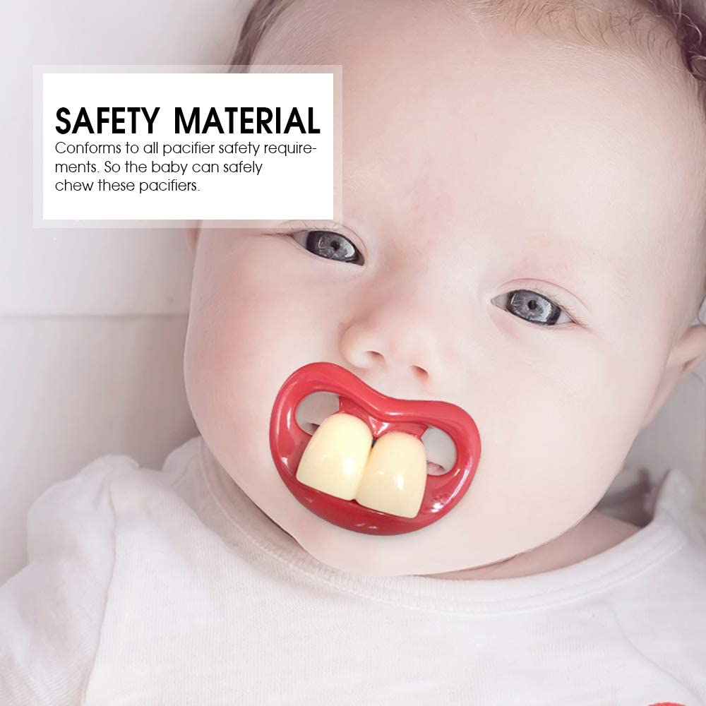 Infants Morenitor Baby Pacifier Silicone Creative Funny Teeth Design Pacifier Baby Teether Cute Kiss Lip Dental Molar Pacifier Gifts for Newborns Toddlers