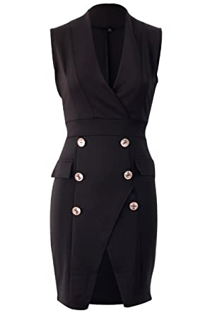 d5d9f1ec38b4fd SCO New Womens Kim Kardashian Inspired Black Sleeveless Blazer Dress 12   Amazon.co.uk  Clothing