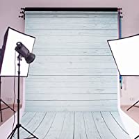 MOHOO 5x7ft Cotton Polyester Photography Background Photo Backdrops Wood Floor Props Collapsible and Washable Backdrop Studio Props(Updated Color)Gray and Blue
