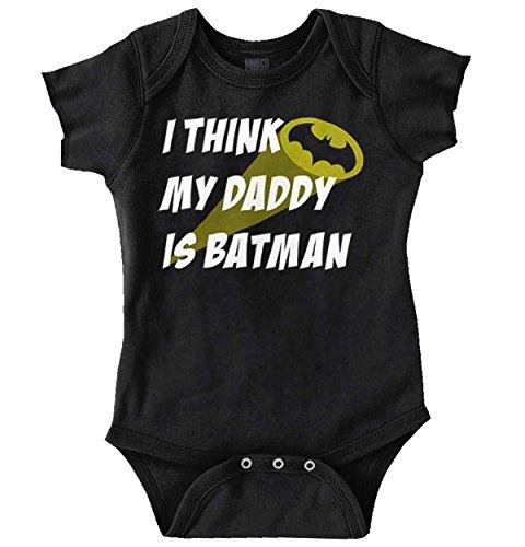 Brisco Brands My Daddy is Bat Cute Fathers Day Comic Hero Romper Bodysuit -