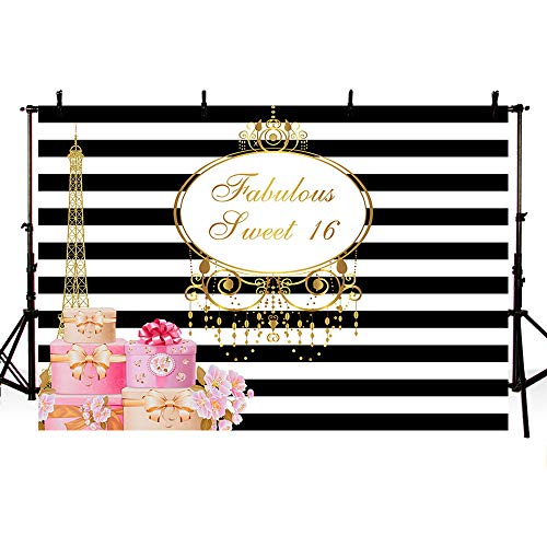 MEHOFOTO Fabulous Sweet 16 Eiffel Tower Photo Studio Booth Background Black and White Stripes 16th Happy Birthday Party Banner Backdrops for Photography 8x6ft