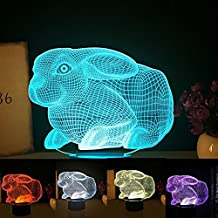 3D Home Animal Rabbit Creative Night Light 7 Color Change LED Table Desk Lamp Acrylic Flat ABS Base USB Charger Home Decoration Toy Brithday Xmas Kid Children Gift