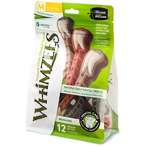 Whimzees Natural Grain Free Dental Dog Treats, Medium Brushzees, Bag Of 12