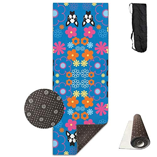 Boston Terriers,Extra,Thick High Density Exercise Yoga Mat with A Yoga Bag for Exercise,Yoga and Pilates. Waterproof Yoga Mats Fitness