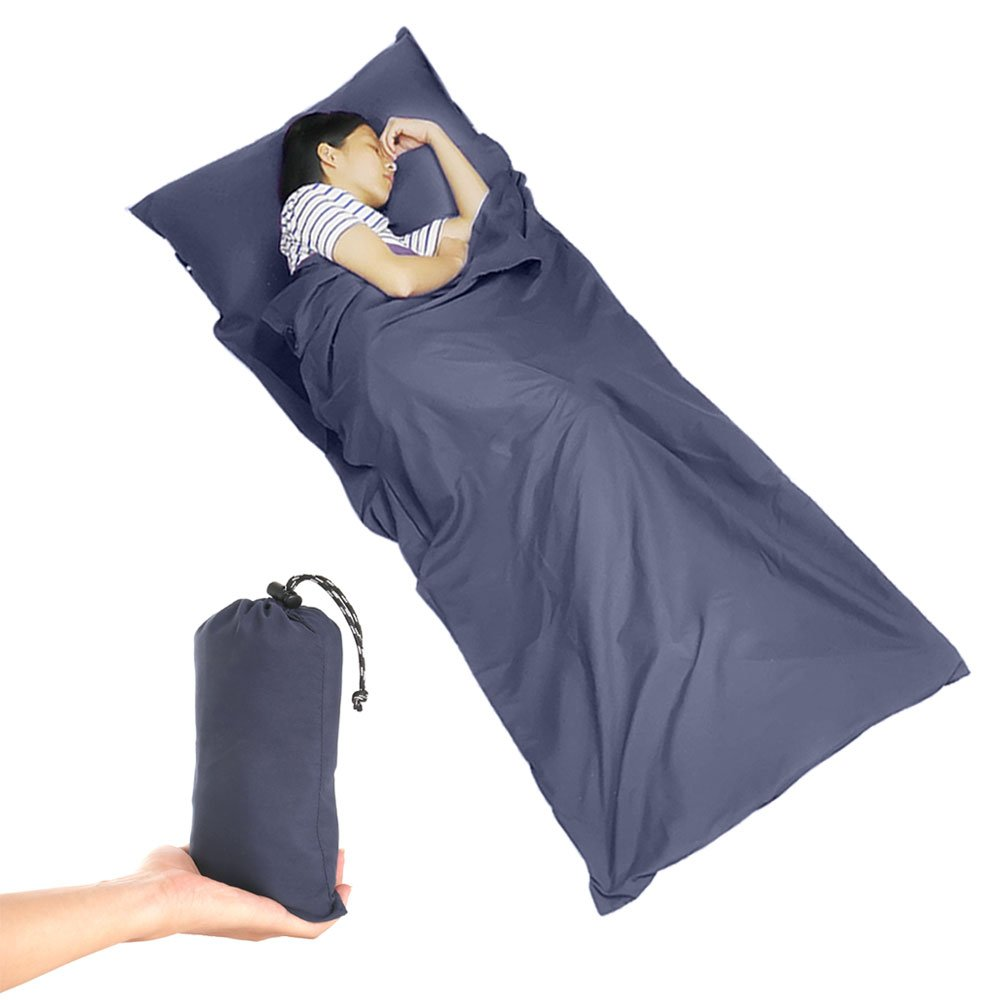 Beauty Star Sleeping Bag Liner, Super Lightweight Sleeping Bag Spring Autumn Traveling, Camping, Backpacking, Hiking, Portable Envelope Ultralight Sleep Sack Compression Sack (Navy Blue)