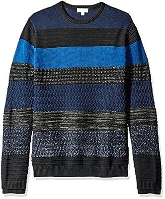 Calvin Klein Men's Mohair Texture Stripe Crew Neck Sweater