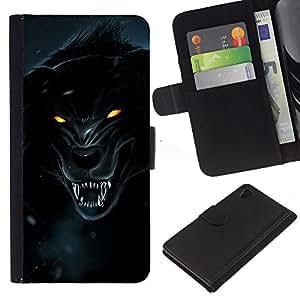 Sony Xperia Z4 / Sony Xperia Z4V / E6508 , la tarjeta de Crédito Slots PU Funda de cuero Monedero caso cubierta de piel ( Wolf Werewolf Black Burning Yellow Eyes)