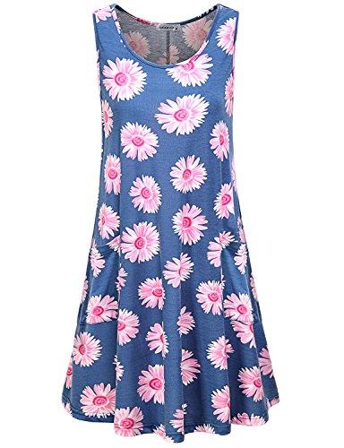Tropical Tank Dress - MOQIVGI Swing Dress,Womens Scoop Neck Flower Print Casual Stylish Soft Surroundings Hawaiian Flowy Tshirt Tank Tops Sleeveless Summer Swing Relaxed Fit Dresses Pockets Light Blue Medium