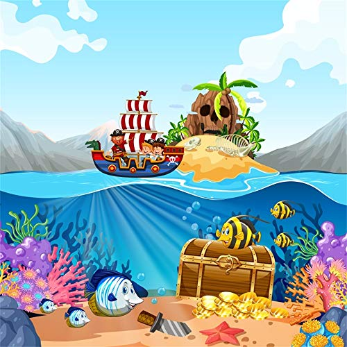 AOFOTO 5x5ft Cartoon Pirate Ship Backdrop Skull Island Underwater Coral Fishes Seabed Gold Coins Treasure Chest Background for Photography Birthday Party Photo Studio Props Washable Polyester