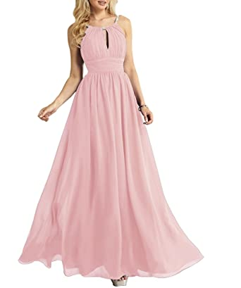 d8b728ab90d42 Halter Long Bridesmaid Dresses Chiffon Pleated A-Line Beaded Evening Prom  Dress Blush Size 2