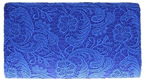 Mujeres noche eventos moda hombro cadena de gran tamaño de Satén embrague bolso de las señoras - Fuchsia Royal Blue