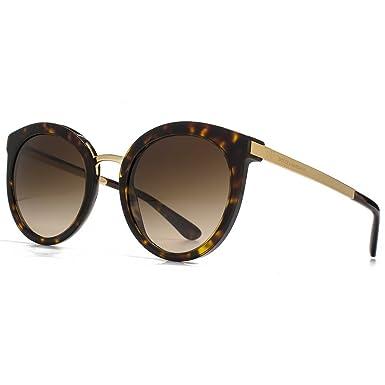 1bc8e1744914 Dolce   Gabbana DNA Peaked Round Sunglasses in Havana DG4268 502 13 52 52  Brown