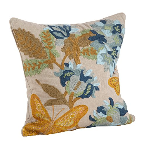 SARO LIFESTYLE 6033.M18S Embroidered Floral Butterfly Down Filled Throw Pillow, Multi, 18