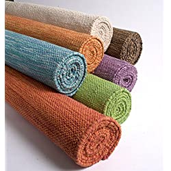 """Yoga Mats by Yogasana   thick yoga mat hot yoga mat for women – 100% Cotton Eco-friendly   the more you Sweat – the more you Grip!   24"""" x 72"""" 7 Inspiring Colors - Water"""