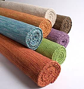 "Yoga Mat by Yogasana thick rug hot yoga 100% Cotton Eco-friendly 24""x72"" Natural"