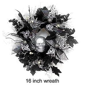 Small Halloween Skull Wreath, Halloween Door Wreath, Halloween Skull Wreath, Skeleton Wreath, Halloween Bling, Black silver and white 77