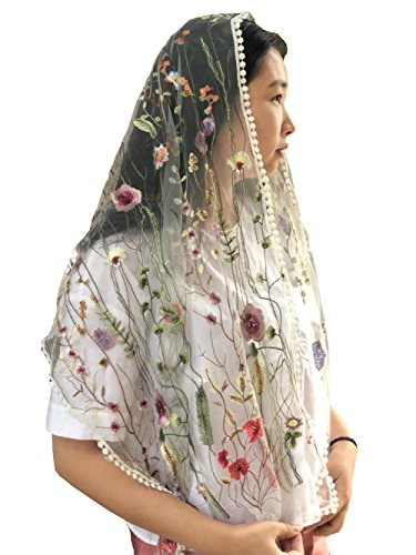 (Sevenflowers Wildflowers Floral Lace Wrap Mantilla Floral Vintage Inspired Lace Chapel Veil Y038)