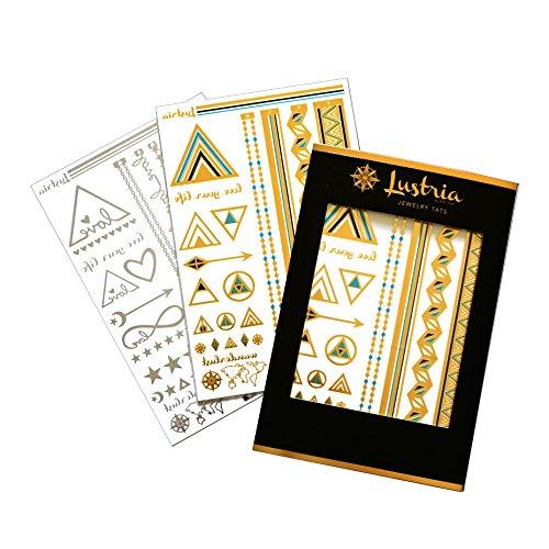 Lustria Metallic Tattoo Jewelry - Bracelets, Armlets & Anklet Flash Tattoos - New York City Love - 2 Sheet