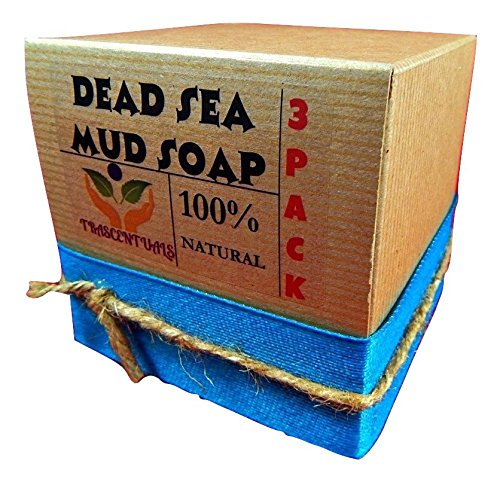 Dead Sea Mud Soap Bar Made With Frankincense Lavender & Eucalyptus Essential Oils 100% Natural Contains Activated Charcoal Use on Face or Body to Help With Acne Psoriasis Eczema (3 Pack) ()