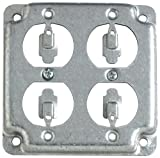 quad box power - Steel City RS8 Outlet Box Surface Cover, Square, Raised, 4-Inch, Galvanized
