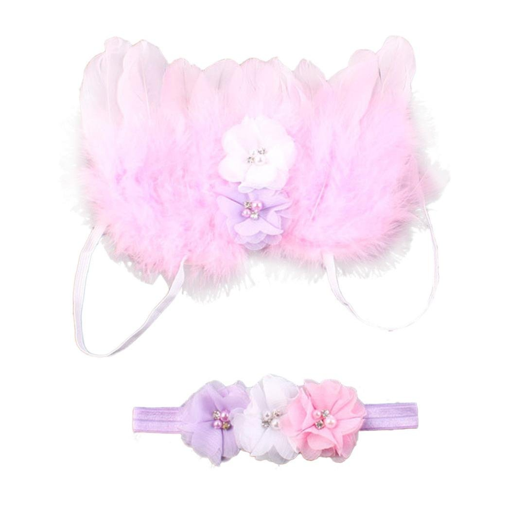 Tenworld Baby Girls Angel Feather Wings Photo Prop Outfits Hair Accessories Tenworld-set