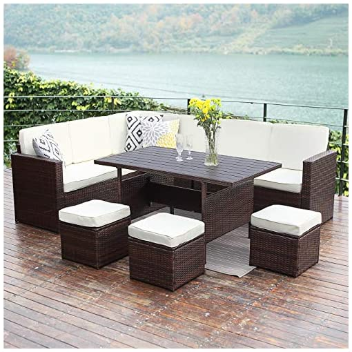 Swell Wisteria Lane Patio Furniture Set 10 Pcs Outdoor Conversation Set All Weather Wicker Sectional Sofa Couch Dining Table Chair With Ottoman Brown Home Interior And Landscaping Palasignezvosmurscom