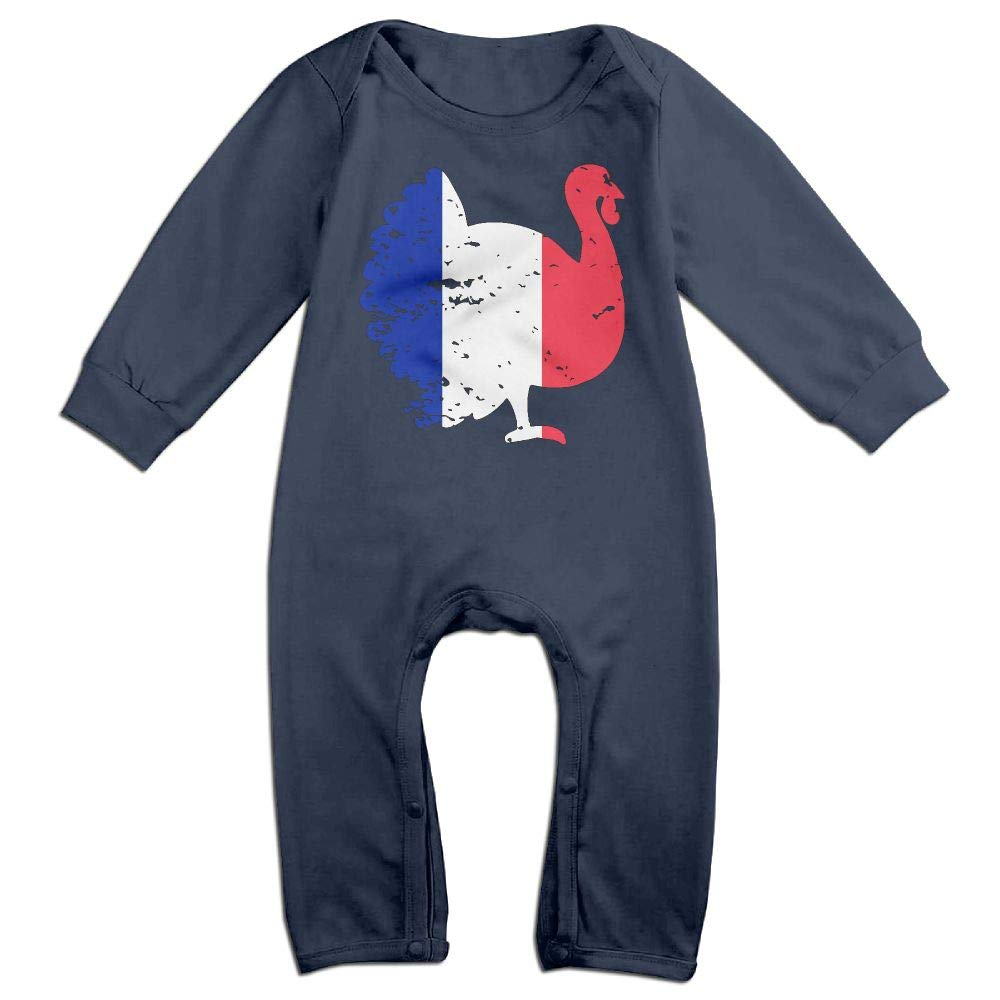 Mri-le1 Baby Boy Long Sleeved Coveralls France Patriotic Turkey Thanksgiving Baby Clothes
