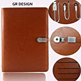 GR DESIGN Note Book Diary with 8GB Pen Drive and 4000 Mah Power Bank and Refillable Sheets with iPhone and Type C Android Charge