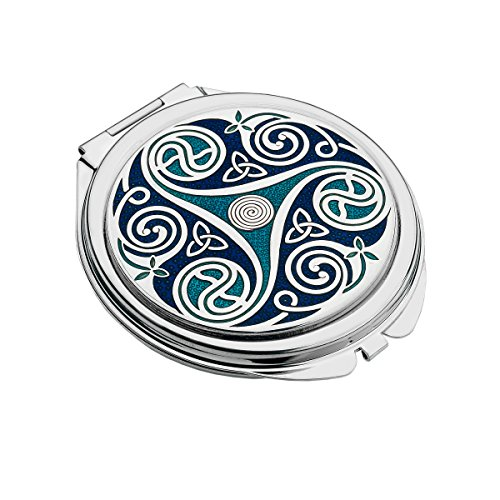 Handmade Fine Glass Enamelled Celtic Triskele Double Shaded Blue Compact Mirror
